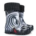 DEMAR - Dětské zateplené holínky TWISTER LUX PRINT 0038 S zebra
